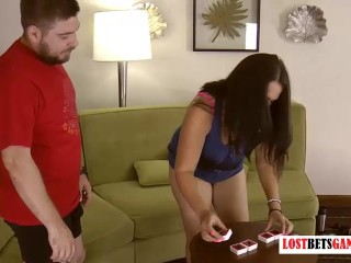 A Beautiful Woman And A Man Playing A Strip Word Game ...