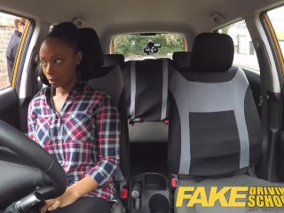 Busty Black Girl Driving School Fails Her Test With Lesbian Examiner