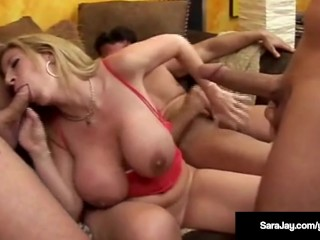 Porn Queen Sara Jay Takes 3 Big Cocks In Her Wet Ass & Pussy!