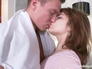 Fuckstudies.com - Rainbow Rebecca - Ginger Cutie Plays With Male Tool