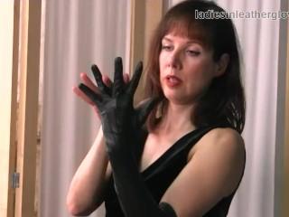 Posh Leggy Brunette Milf In Nylon Stockings Enjoys The Feel Of Her Soft Black Leather Gloves