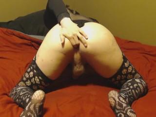 Bubble Butt Crossdresser Twink Sissy Plays With Big Dildo