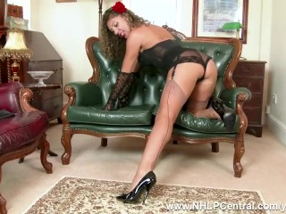 Chloe French Brunette Fingering Her Hairy Pussy In Vintage Basque Black Nylons And Spike High Heels
