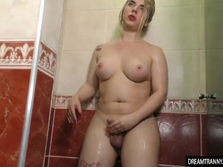 Blonde Tranny Carol Penelope Pokes Her Hard Cock In The Shower