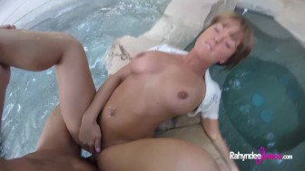 Rahyndee James backyard pool fucking