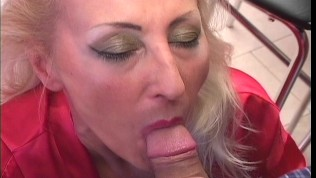 Old hottie devours young twink 1/5