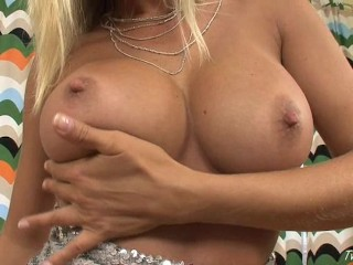 Busty Blonde Works Her Shaved Pussy