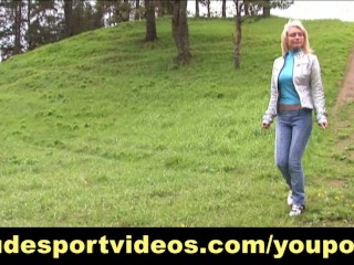 Hot blonde having nude outdoor workout
