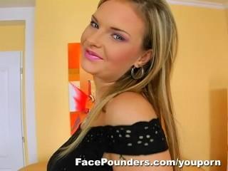 Blond Czech girl with big tits deep throats