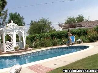 Sexy latina sucks dick by the pool