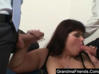 Fat horny milf seduced by two young guys
