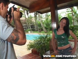 Cum shoots on her face during her photo shoot.