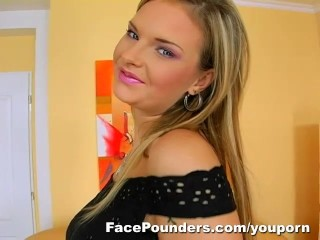 Blond Czech girl with big tits deep throats...