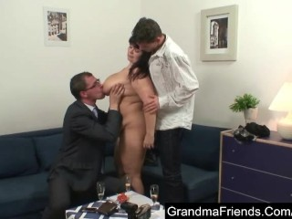 Fat mature lady fucked by two