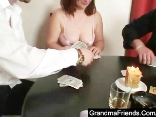 Granny plays poker and gets fucked