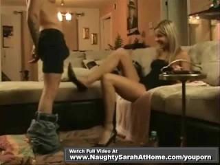 Sarah wet oily footjob and anal