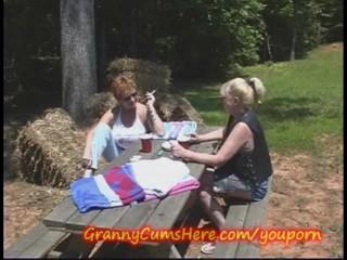 Two Grannies fuck in PUBLIC
