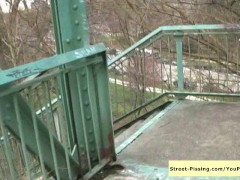 Picture Pissing On Bridge Stairs - In Public