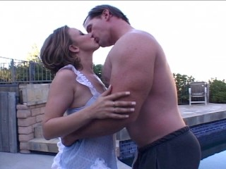 Pool boy helps MILF get relaxed by the pool