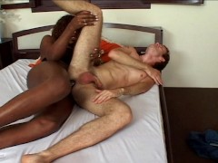 Picture White boy takes trannies big black cock with...