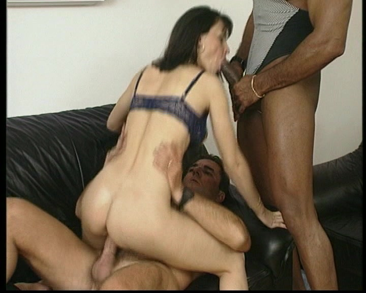 Redhead fucked by two black cocks