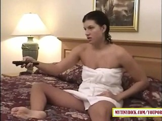 Horny MILF sucking dick in the hotel room