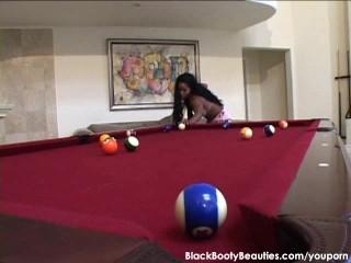 Hardcore black fuck on a pool table