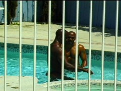 Picture Black muscle studs fucking in the pool