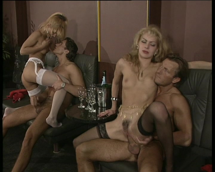 Men gang massaging nude female
