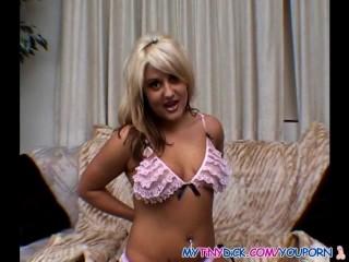 Blonde cock sucker does her job