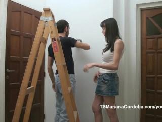 Mariana Cordoba painting and sucking cock