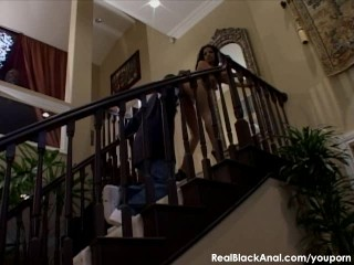 Black ass gets fucked on the stairs
