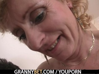 Blonde granny jumps on young cock - 10