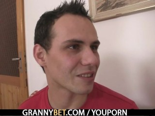 Blonde granny jumps on young cock - 6
