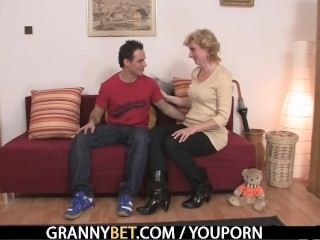 Blonde granny jumps on young cock - 7