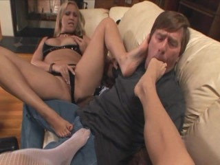 Two blondes giving a kinky footjob in stockings - 7