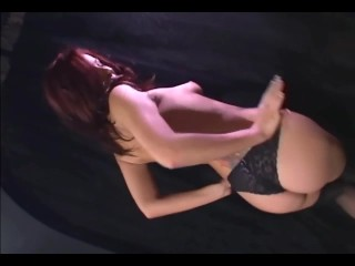 Redhead masturbates in sheer stockings and heels - 5