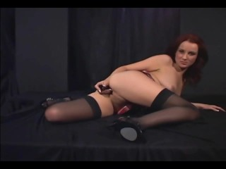 Redhead masturbates in sheer stockings and heels - 8