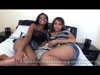 2 Ebony Teen Lesbians in Amateur POV Threesome