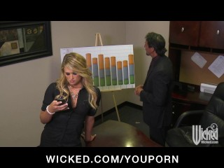 Horny sexy blonde boss sucks & fucks big-dick on t