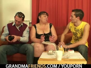 Two guys interview then fuck fat mommy