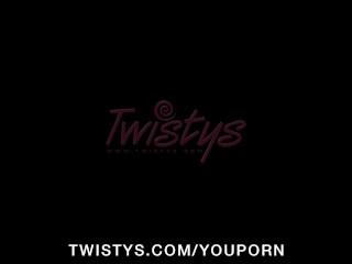 Hot big-tit brunette slut rubs pussy in shower outdoors to orgasm