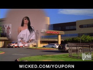 Big-tit blonde slut doctor takes advantage of her busty  patient