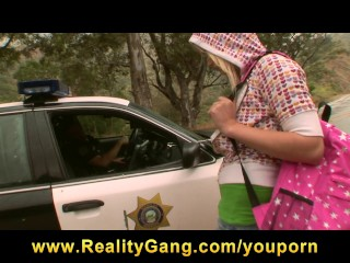 Hot & Horny blonde teen hitchhiker slut picked-up & fucked by cop