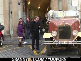 He picks up and bangs granny