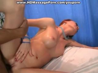 Ginger pounded at naked massage session