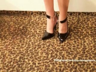 Mariana Cordoba in black suspenders