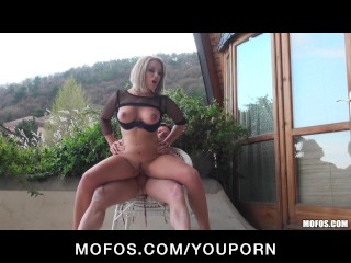 Horny Big-boob bubble-butt blonde slut Legall fucks hard outdoors