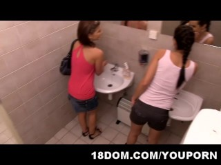 Voyeur guy experience humiliation and embarrassment for spying in the public toilet