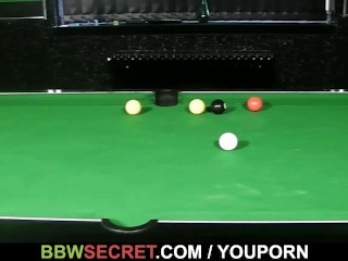 Her BF fucks fatty on the pool table